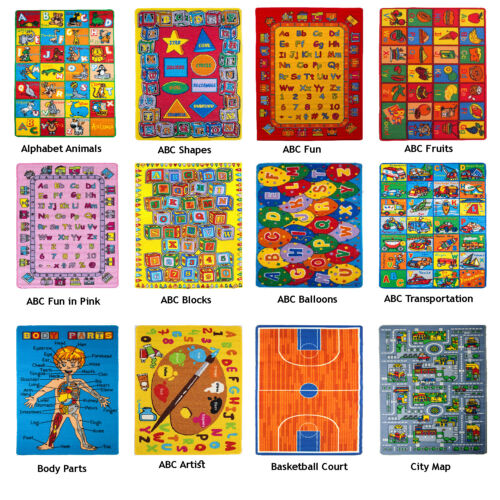 KIDS CHILDREN SCHOOL CLASSROOM BEDROOM EDUCATIONAL RUG NON SKID GEL RUG (30 new) <br/> Discounted Prices! All kids rug 3x5 to 8x10 New Designs