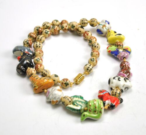 """Vintage Chinese Zodiac Animal Hand Paint Porcelain Necklace Bead Character 24"""""""