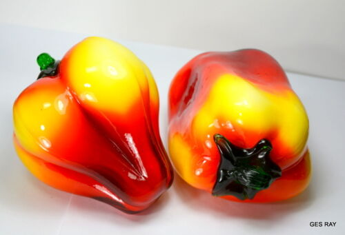 Hand Blown Murano Venetian Italy Red Yellow Glass 2 Bell Peppers Sculptures