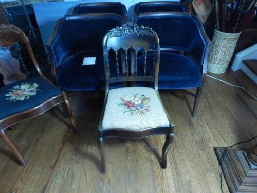 Mid Century Accent Chair Needlepoint Seat Floral Victorian Reproduction