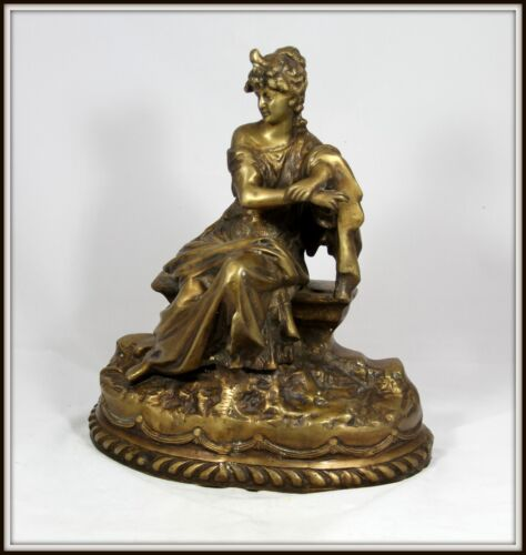 """Bronze of a Beautiful Victorian Woman Sitting on a Bench""  (16"" H x 14"" W)"