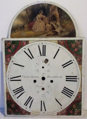 EARLY 19TH CENTURY BROOKSBANK BRADFORD TOMBSTONE FORM TALL CASE CLOCK FACE