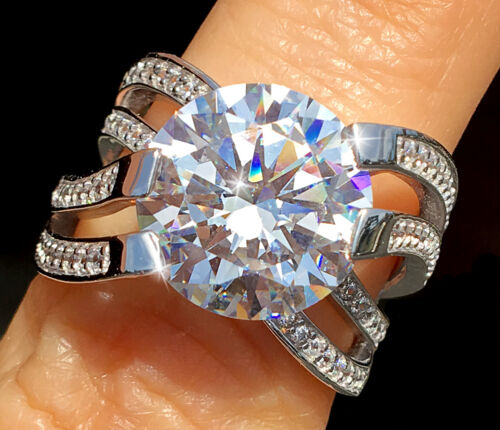 5 ct Imperial Crown Ring Russian Quality CZ Imitation Moissanite Simulant Size 8