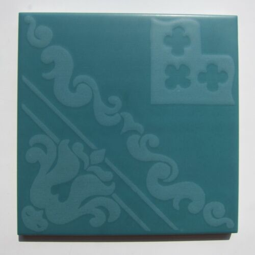 "Vintage 1960s 6"" x 6"" Green Scarf Print Floor Tile, 74 sq ft available, ITALY"