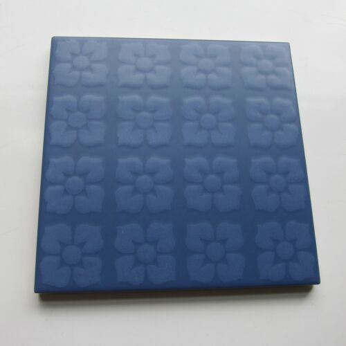 "Vintage 1960s 6"" x 6"" Blue Floral Floor Tile, 118 sq ft available, Made in Italy"