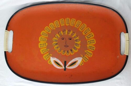 Vintage LARGE Pressed Wood Tray, Wrapped Handles Groovy Sunflower Design *et