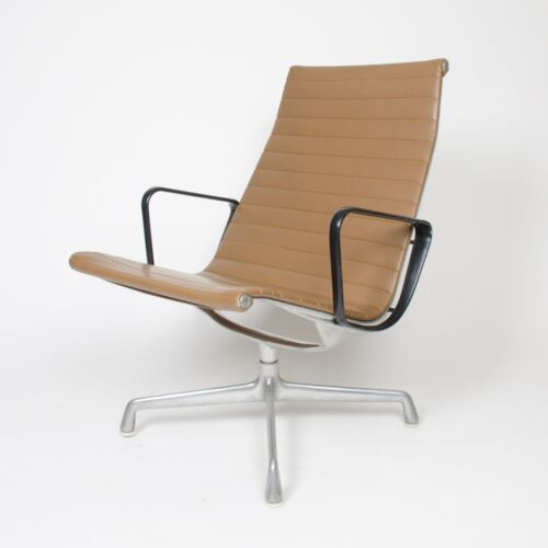 Museum Quality Eames Herman Miller Aluminum Group Lounge Chair, Tan Upholstery!