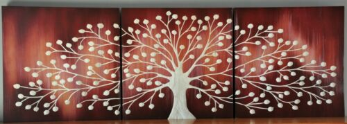 NATURES GIFT-REVERSE BLACK-CARVED TREE TIMBER WALL ART-DECO 3 PANEL WOOD CARVING
