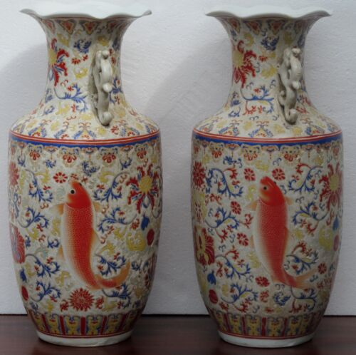 FINE PAIR OF IMPORTANT CHINESE TEMPLE JARS WITH KOI & PHOENIXS- BEST SIGNED