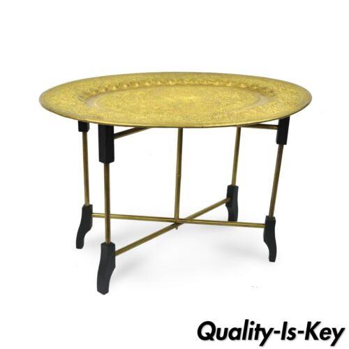 Vintage Mid Century Moroccan Brass Tray Top Folding Small Coffee Accent Table