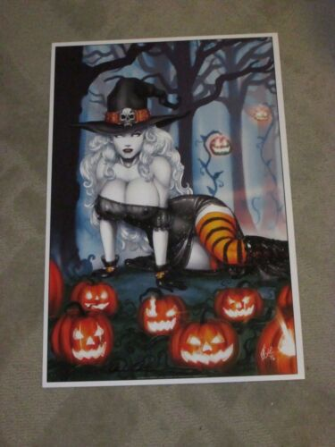 2017 ECCC LADY DEATH WITCH ART PRINT 16 BY DAVID HARRIGAN SIGNED PULIDO