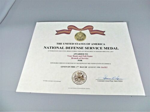 NDSM National Defense Service Medal Certificate Army Navy Air Force MarinesMedals, Pins & Ribbons - 104024