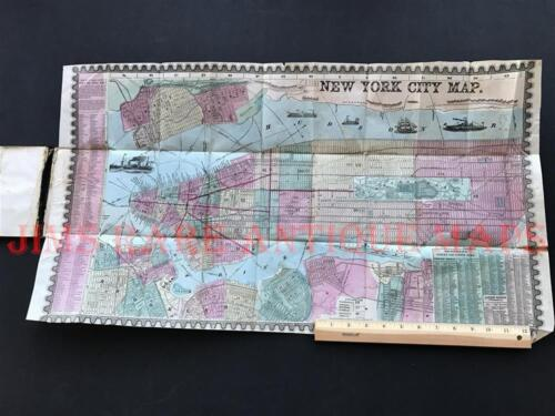 "1857 HUMPHREY PHELPS MAP  ""29 inch RARE""   NEW YORK POCKET MAP,GUIDE TRAVEL"