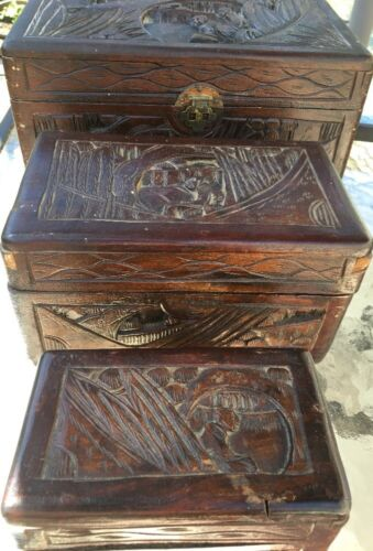 Antique Oriental Chinese Carved Wood Stationary Jewelry Trinket Games Box Set 3*