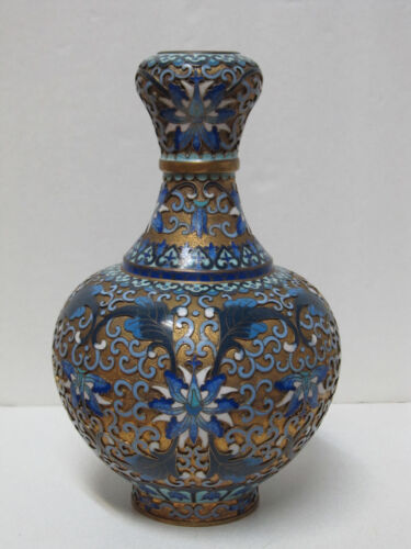 Fine Old Chinese Floral Design Gold Gilt Cloisonne Vase