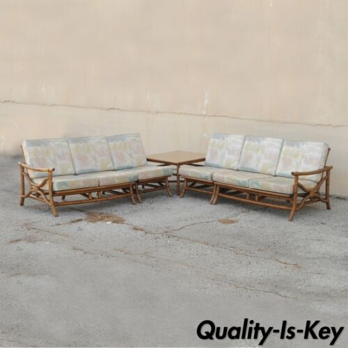 Vtg Mid Century Ficks Reed 5 Pc. Rattan Tiki Set Bamboo Sofa Table Pair Chairs