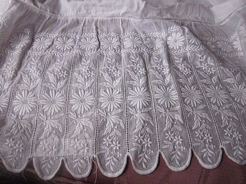 """Circa 1880's English Lace Remnant~Victorian Dress bottom White work ~60"""" long"""