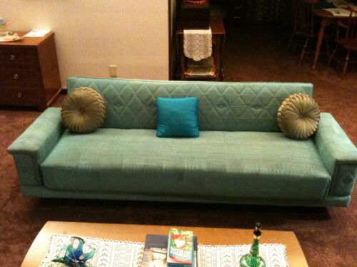 1950's Vintage Click Clack Sofa Bed Sleeper and Chair Set Mid Century
