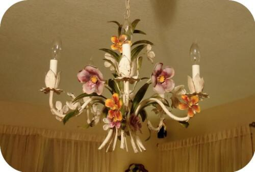 Vintage Italy Tole Flowers Chandelier Multi Color Shabby chic