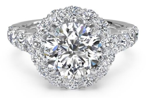 Real 14KT Solid White Gold 2.49 Ct Halo Brilliant Cut Diamond Engagement Ring