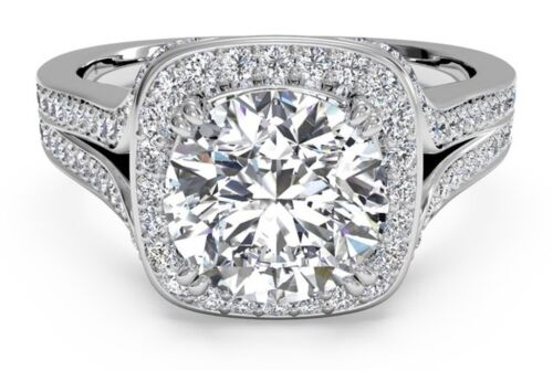 Real 14KT Solid White gold 2.25 ct Round Brilliant cut Halo Engagement Ring