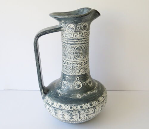 Ancient Greek Clay Vessel Museum Reproduction Copy Wine Jar Jug Ewer w/ Papers