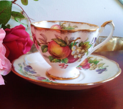 Tea Cup and Saucer Fruit Apple Grapes Queen Anne Co.1950s Bone China England