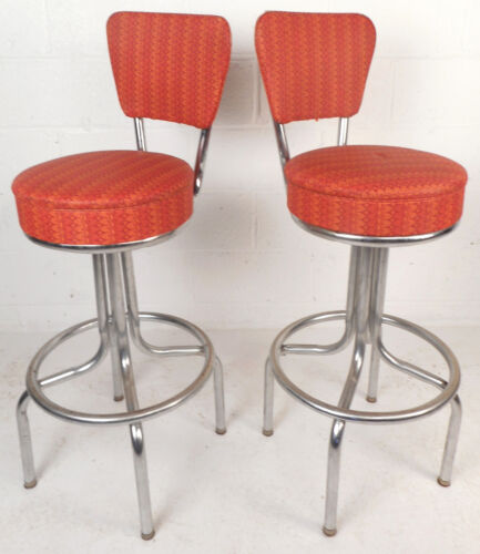 Pair of Mid-Century Modern Swivel Bar Stools (8425)NJ