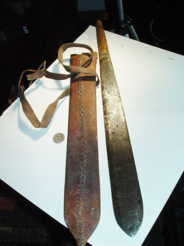 """WOW COLONIAL ANTIQUE SWORD EAST AFRICAN MASSAI IN LEATHER, BIG 22"""" LONG, KENYA"""