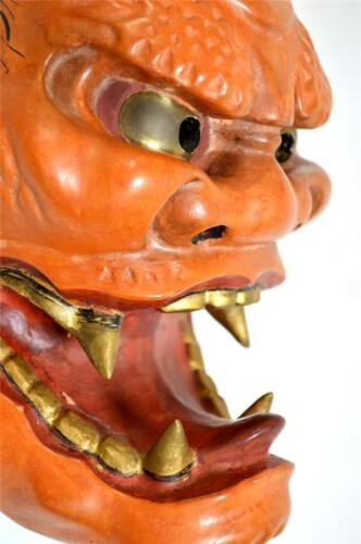 Wooden! Japanese Traditional Mask Demon ONI  Samurai Noh Kabuki Kagura Kyogen
