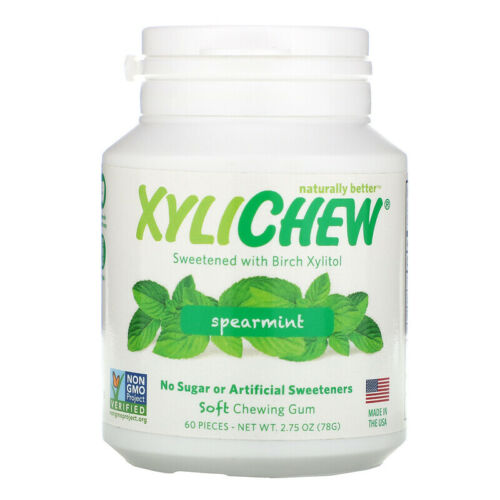 XYLICHEW NATURAL CHEWING GUM WITH BIRCH XYLITOL SPEARMINT MINT MINTY NON GMO