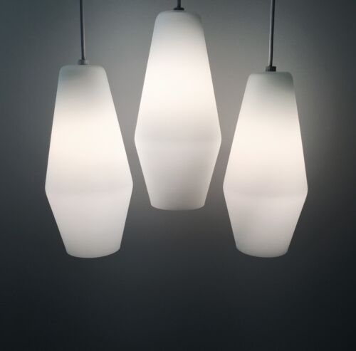 1 Vintage Mid Century Danish Modern Frosted Glass Pendant Lamp Light Fixture
