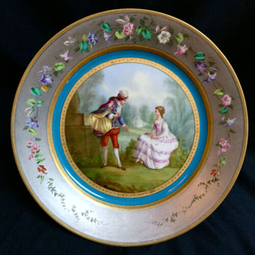 ANTIQUE SEVRES HAND PAINTED PORCELAIN CABINET PLATE WITH SILVER AND GOLD DECOR.