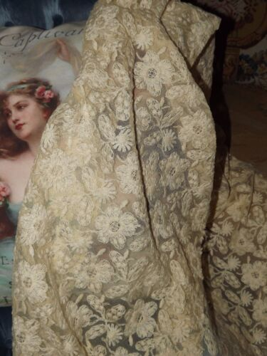 "3 yds ANTIQUE / VINTAGE Embroidered Net LACE Fabric Cream Ecru Embroidery 18"" w"