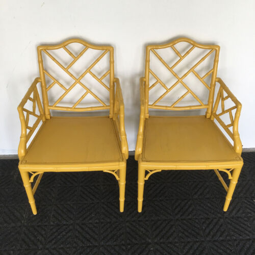 Pair Faux Bamboo Chinese Chippendale Armchairs Hollywood Regency Chair