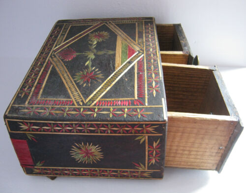 Antique primitive OLD wooden straw jewelry  box  w/ 2 drawers small  cabinet