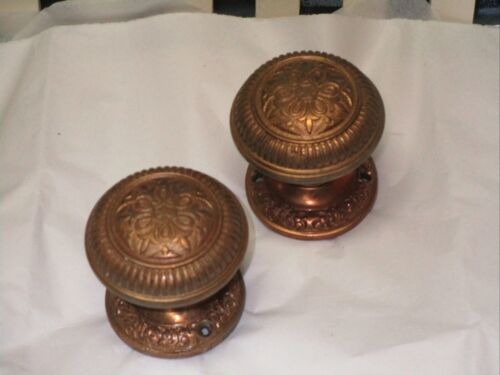 Antique matching Victorian ornate brass door knob & back plate unique