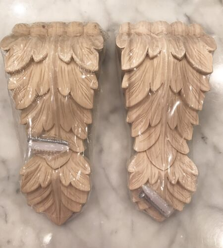 """One Pair- Unfinished Wood Brackets 7 1/2"""" Corbels Pilasters Appliques"""