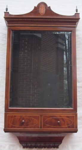 SUPER QUALITY FEDERAL MAHOGANY INLAID BEVELED GLASS WALL CABINET