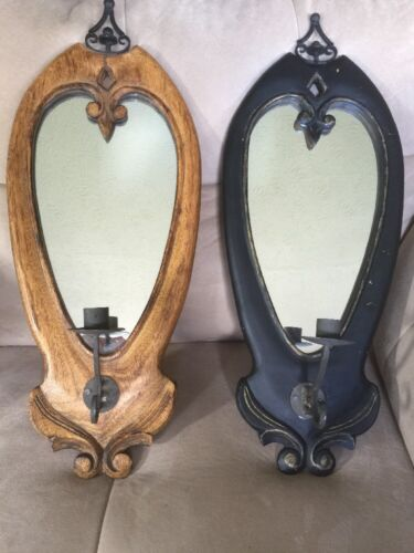 VICTORIAN ANTIQUE Tiger Oak Mirror WALL SCONCE CANDLE HOLDER PAIR LARGE 2