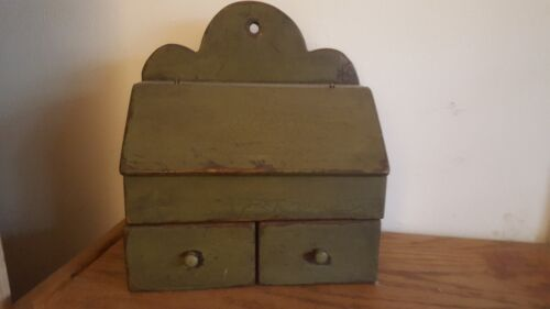 Primitive Colonial Lift Top Wall Box Jack Box Great Green Paint Candle Box