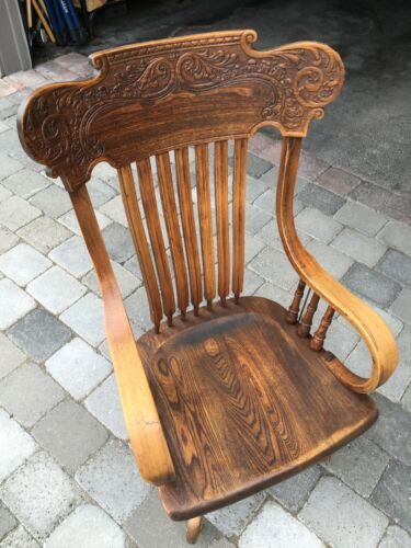 Antique Ash desk chair ( van & pressed back ) 1940's -early 1950's