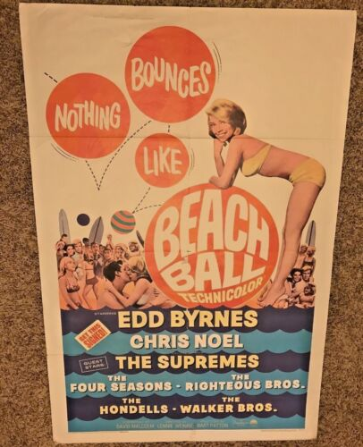 "ORIGINAL 1965 1-SHEET MOVIE POSTER BEACH BALL 41""X27"" SURFING SURF SURFBOARD"