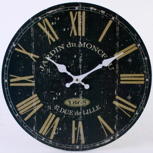 Wall Clock - Black Vintage French Design Rustic Style - (34cm)