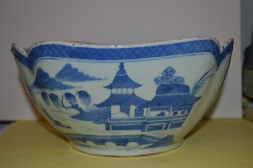 Antique Large Chinese Export Blue & White Canton Bowl