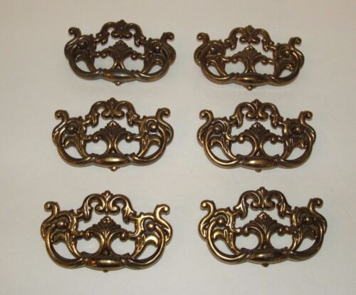 Lot of 6 Vintage Antiqued Brass Ornate Colonial Dresser Drawer Pulls Handle 4.5""