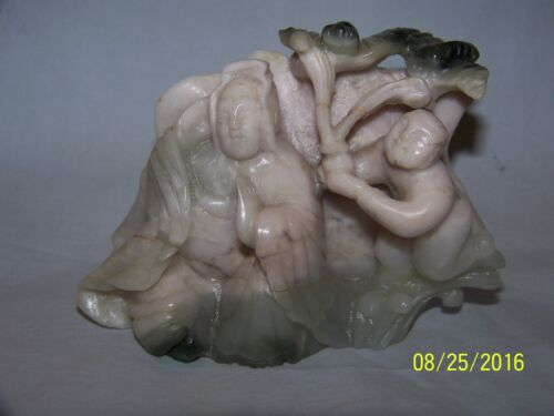 VENTAGE WHITE CARVED JADE BUDA AND BOY ON ONE SIDE & LOTUS FLOWER ON BACK SIDE