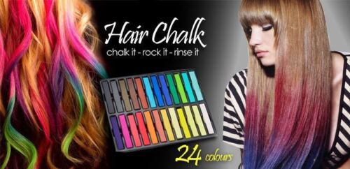 24 Color Hair Chalk Temporary Coloring DIY Non Toxic Pastel Salon Kit Instant