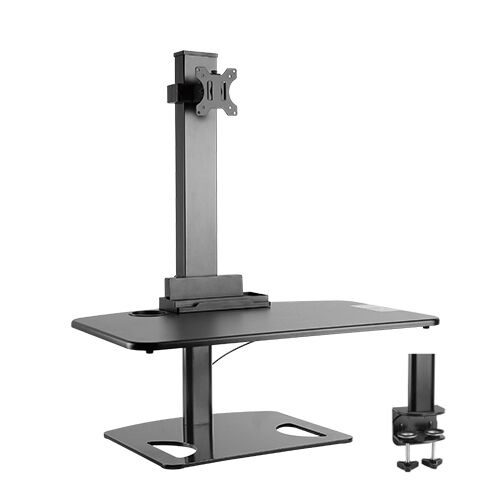 Desk Mount or Clamp Brateck DWS03-T01BK Single Display Height Adjustable Stand