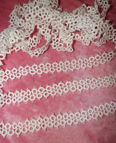 """5 yds Antique Vintage  Tatting Tatted Lace Trim Large Double Row White 1""""wide"""